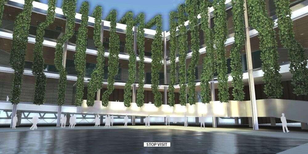 Le jardin suspendu, une des attractions du pavillon français à l'Exposition universelle de Shangai. © Dassault Systèmes
