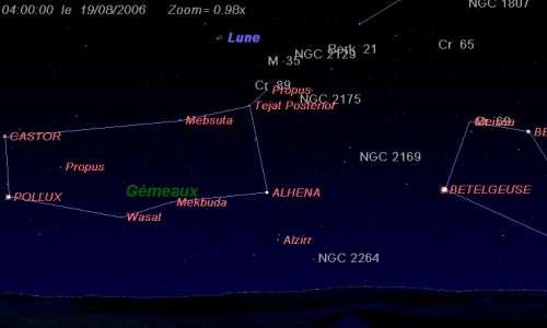 La Lune est proche de l'amas ouvert M35