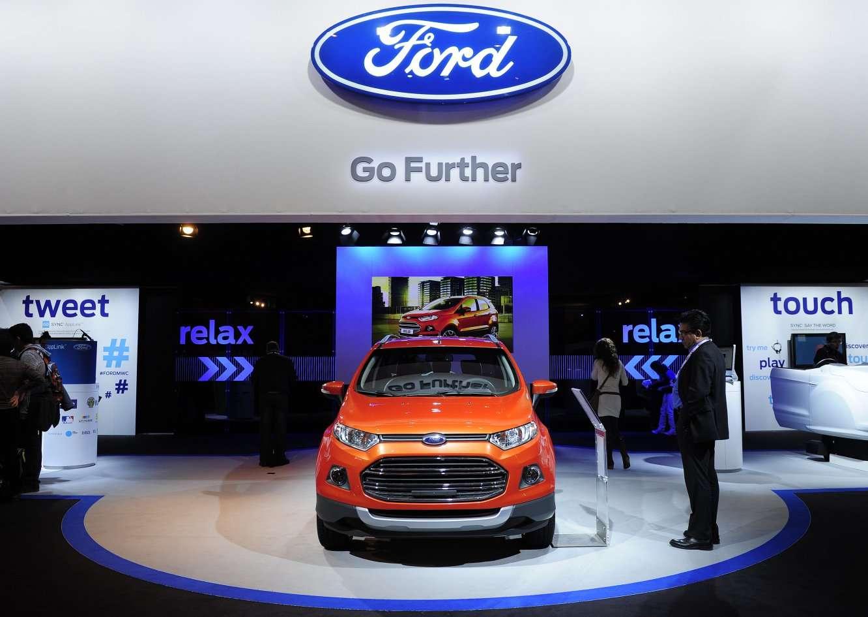Ford présente une voiture connectée. Les voitures pourraient devenir des accessoires de smartphone comme les autres. © AFP Photo, Josep Lago