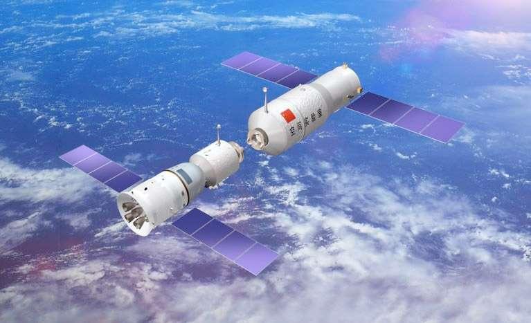 Nouvelle performance pour la Chine avec la réalisation d'un amarrage manuel de Shenzhou-9 à Tiangong-1. © CNSA