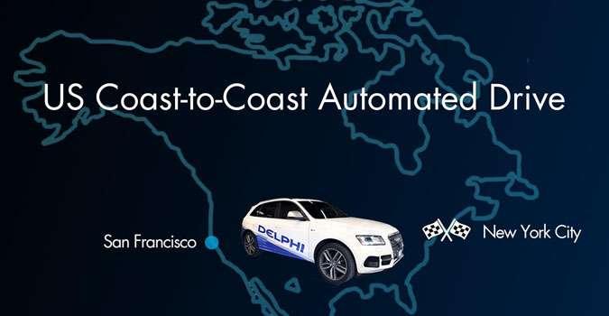 L'équipementier Delphi s'est associé à Audi pour tenter la première traversée des États-Unis avec une voiture sans chauffeur. Le véhicule va parcourir 5.600 kilomètres entre San Francisco et New York. Départ le 22 mars. © Delphi
