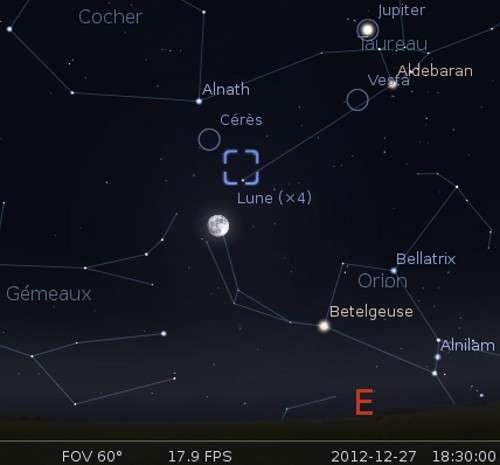 La Lune en rapprochement la nébuleuse du Crabe et Cérès