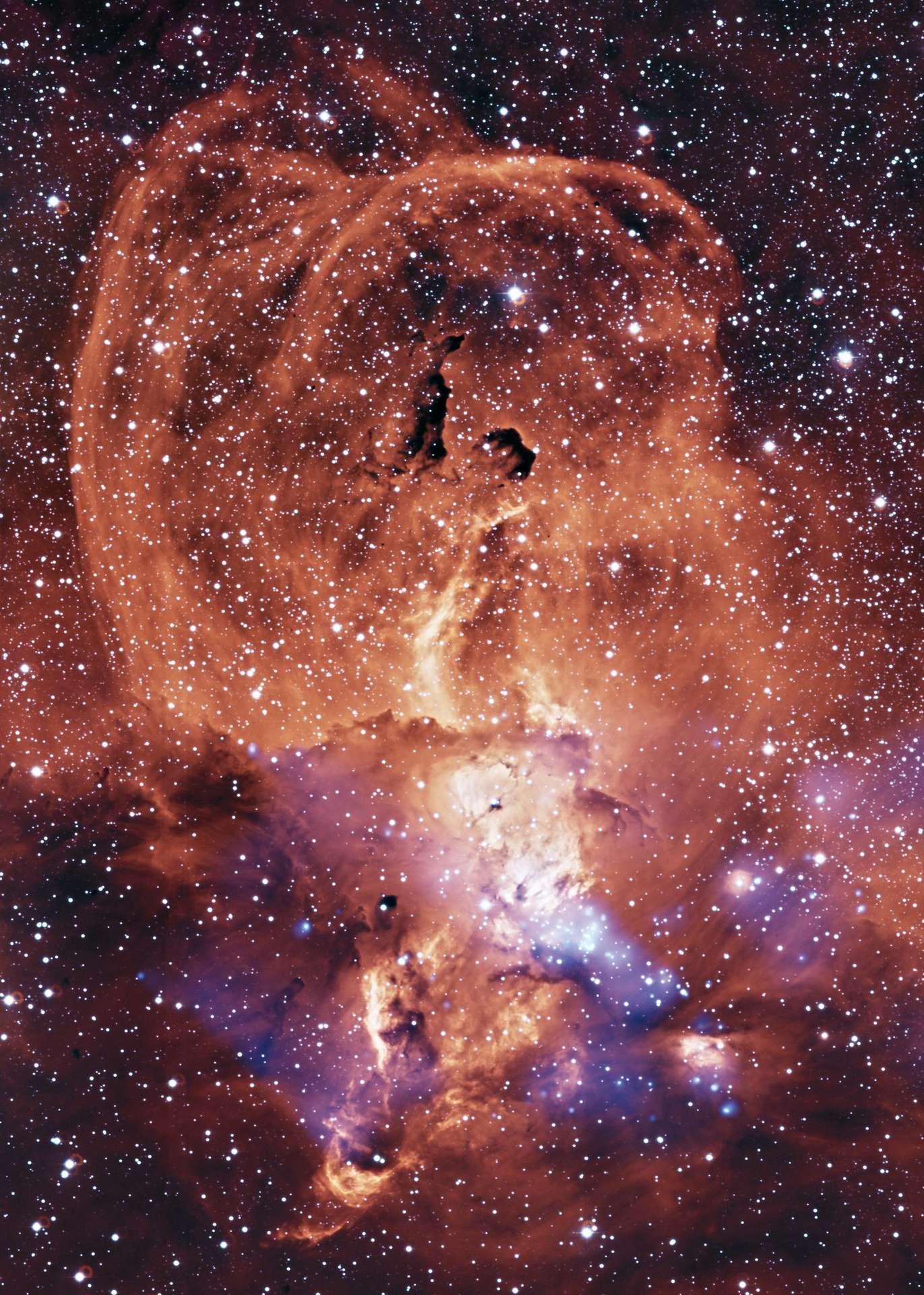 La nébuleuse NGC 3576, située à une distance de 9.000 années-lumière dans la constellation de la Carène, est surnommée nébuleuse de la Statue de la Liberté en raison de la figure statuesque que l'on peut deviner à travers ses pelotes de gaz et de poussières parsemés d'étoiles. © Harvard-Smithsonian Center for Astrophysics, Flickr, CC By-NC 2.0