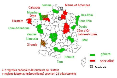 Les registres de cancer en France. © InVS