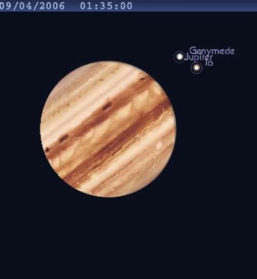 Le satellite Ganymède disparait dans l'ombre de Jupiter