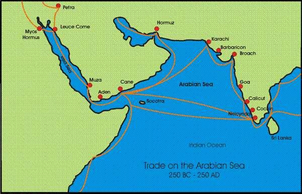 La route des épices entre le Kerala et Petra au temps de l'empire romain (Crédit : nabataea.net).