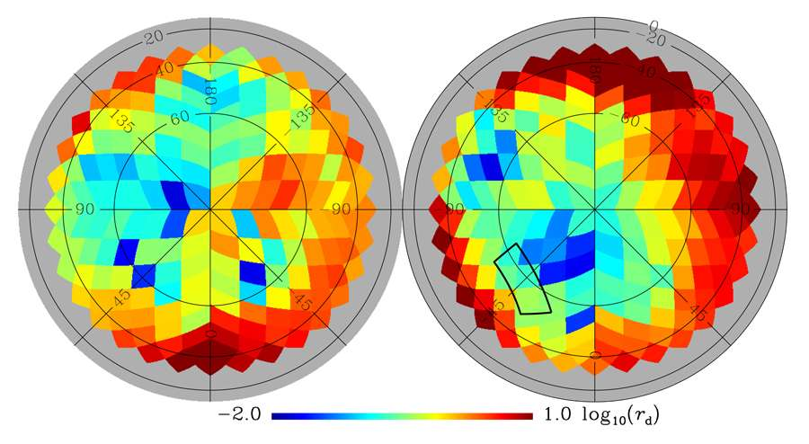 Les membres de la collaboration Planck viennent de publier une carte en fausses couleurs permettant d'estimer l'influence de la poussière galactique sur les observations à hautes latitudes galactiques du rayonnement fossile. Elle est composée de plusieurs régions où ont été faites les estimations. Plus les zones sont bleues, moins le rayonnement fossile est masqué. Le vert correspond à une amplitude du signal galactique de l'ordre du signal détecté par Bicep2 et qui a été étudié dans la partie du ciel indiquée par le contour noir. Malheureusement, non seulement les émissions de poussières dans cette région ne sont pas négligeables mais il apparaît aussi qu'il ne s'agissait pas de la zone de la voûte céleste la moins parasitée par ces émissions. © Esa, collaboration Planck