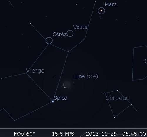 La Lune en rapprochement avec Spica et Cérès