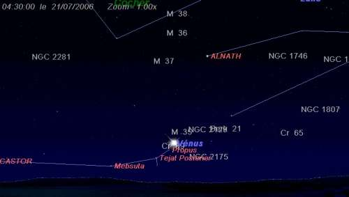 La planète Vénus passe à proximité de l'amas ouvert M35