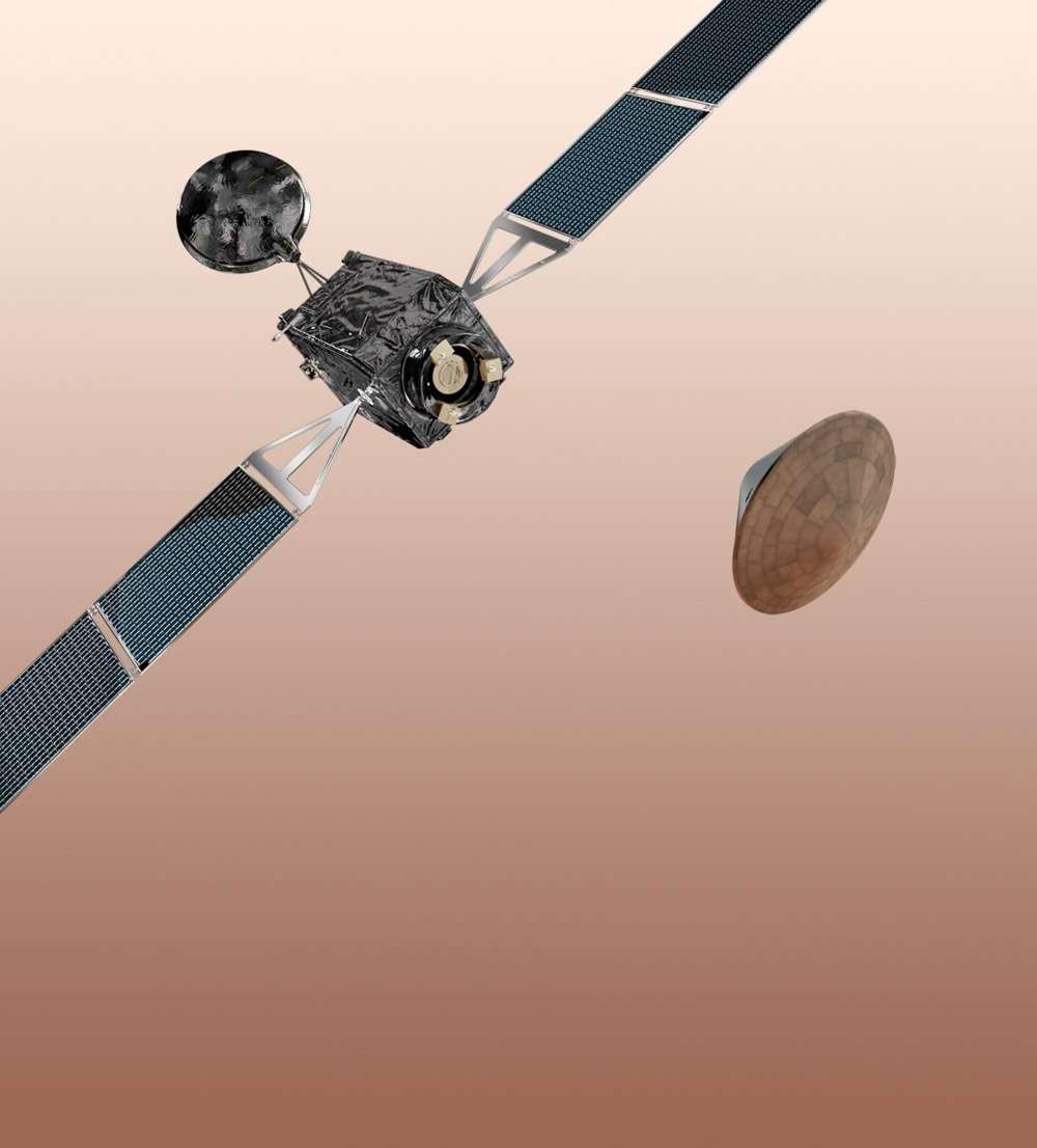 Telle qu'elle est envisagée, la mission ExoMars 2016 prévoit l'orbiteur (Trace Gas Orbiter) et le démonstrateur EDM d'entrée, de descente et d'atterrissage. © Esa-AOES Medialab