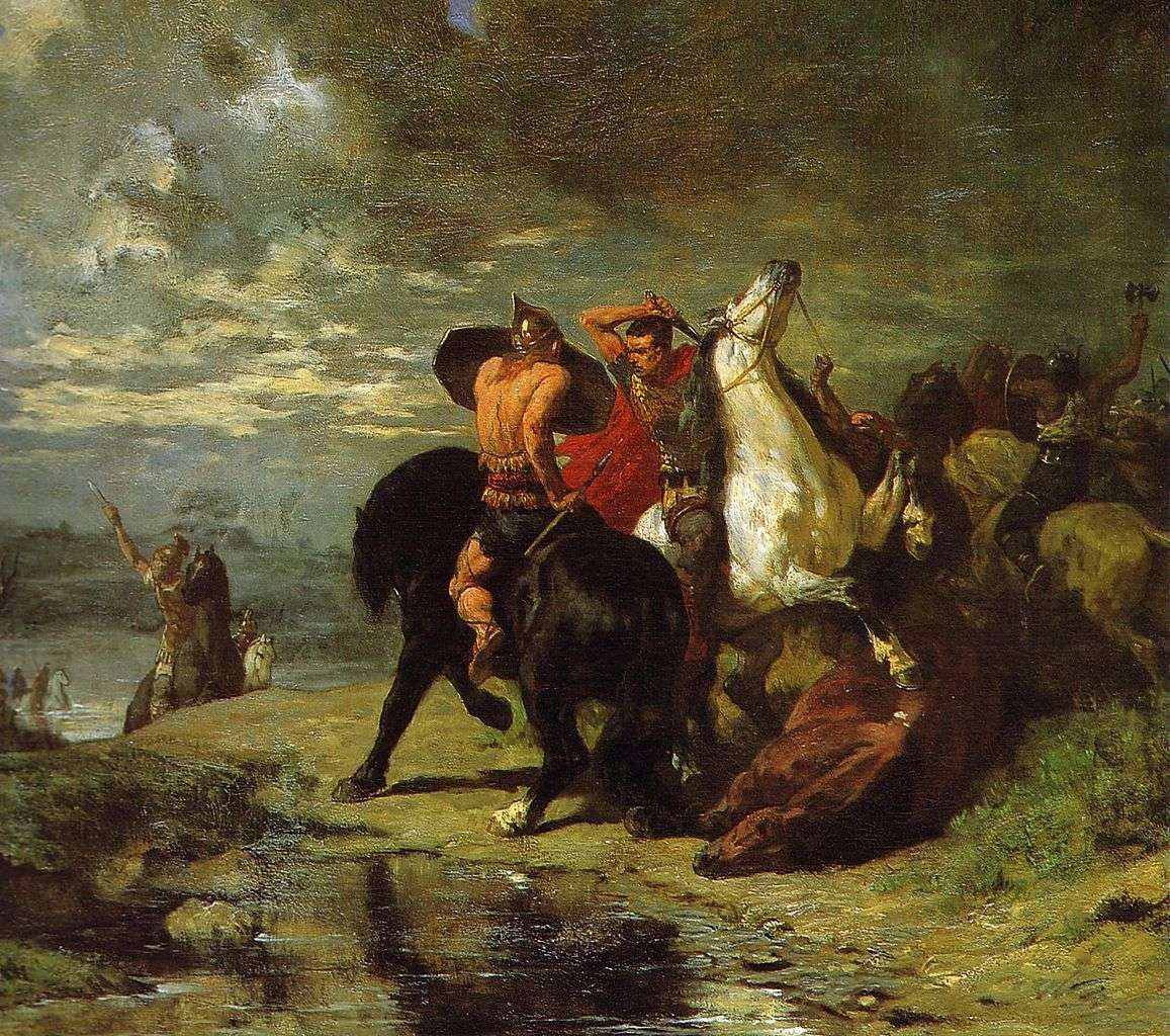 Combat entre Gaulois et Romains durant la conquête des Gaules. © Évariste-Vital Luminais, Wikimedia Commons, DP