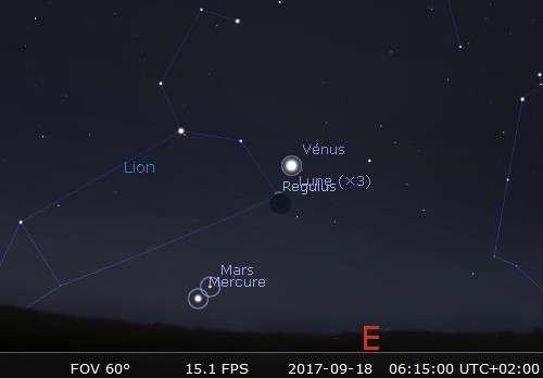 La Lune en rapprochement avec Vénus et Régulus