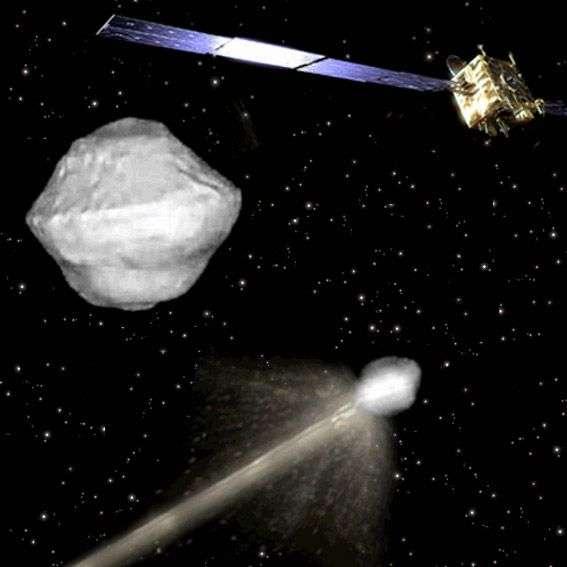 Lors de la mission Aida, le satellite AIM surveillera l'astéroïde et les conséquences de l'impact sur sa structure interne et son orbite. © Esa