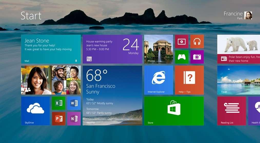 Comme pour Windows Phone 8, les tuiles de l'interface Modern UI seront redimensionnables en trois tailles. Windows 8.1 proposera de nouveaux fonds d'écran et de nouvelles couleurs. Il sera possible d'utiliser le même fond d'écran pour l'interface Modern UI et le Bureau Windows classique. © Microsoft
