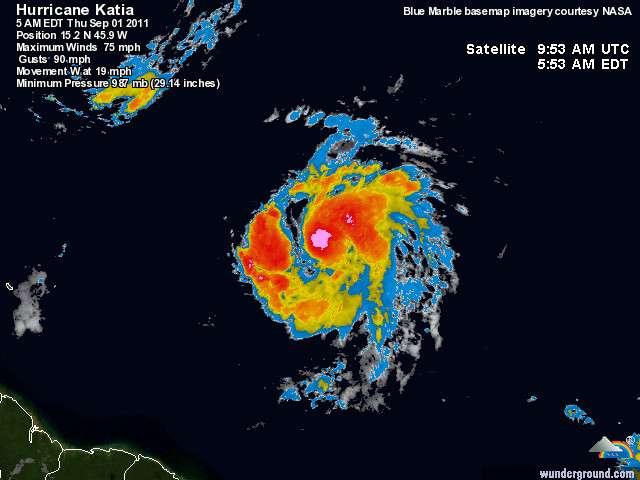 L'ouragan Katia, de catégorie 1, s'est formé dans l'Atlantique et se dirige vers les côtes des Caraïbes, mais ne semble pas menacer les populations. © wunderground.com