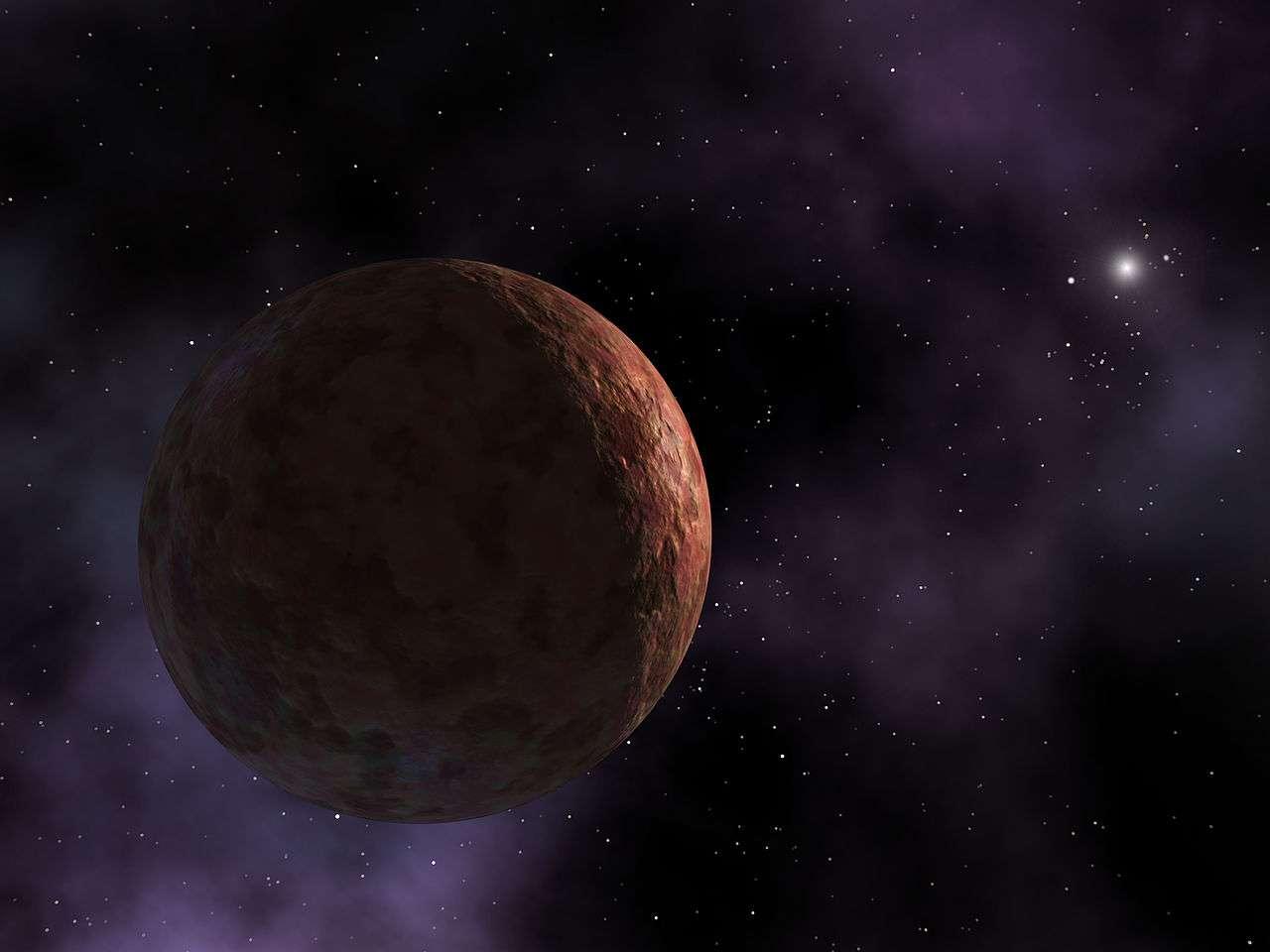 Découverte en 2003, Sedna, qui pourrait prétendre au statut de planète naine, a une orbite extraordinaire, son ellipse l'amenant, en 12.000 ans pour un tour, près de la ceinture de Kuiper puis jusqu'à plus 900 Unités Astronomiques. Cette trajectoire pourrait être due à deux planètes massives circulant bien au-delà de Neptune et Pluton. © Nasa, R. Hurt