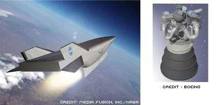 Le démonstrateur hypersonique X-43C et le moteur réutilsable RS-84 de Boeing. Dessins d'artiste.