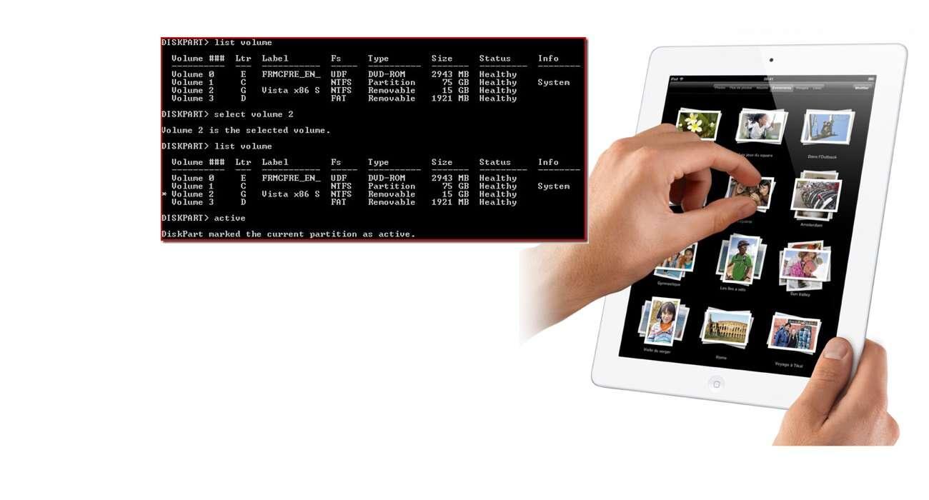L'interface utilisateur du système d'exploitation MS-Dos (à gauche) et du logiciel système iOS de l'iPad (à droite). © Licence CC (MS-Dos)/Apple (iPad)/Montage Futura-Sciences