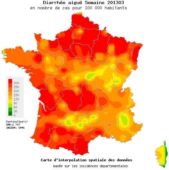 Après quatre semaines d'épidémie, la gastroentérite commence peu à peu à reculer en France, même si les virus circulent encore beaucoup. Passera-t-on en dessous du seuil épidémique dès cette semaine, ou faudra-t-il attendre davantage ? © Réseau Sentinelles