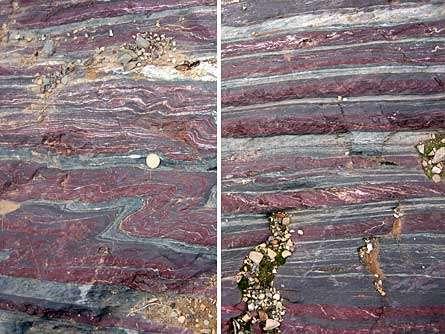 Voici des preuves de la Grande Oxygénation : des gisements de fer rubanés (en anglais, banded iron formation, abrégé en Bif) dans l'Ontario au Canada. © Stefan Lalonde