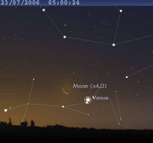 La Lune est en conjonction avec la planète Vénus
