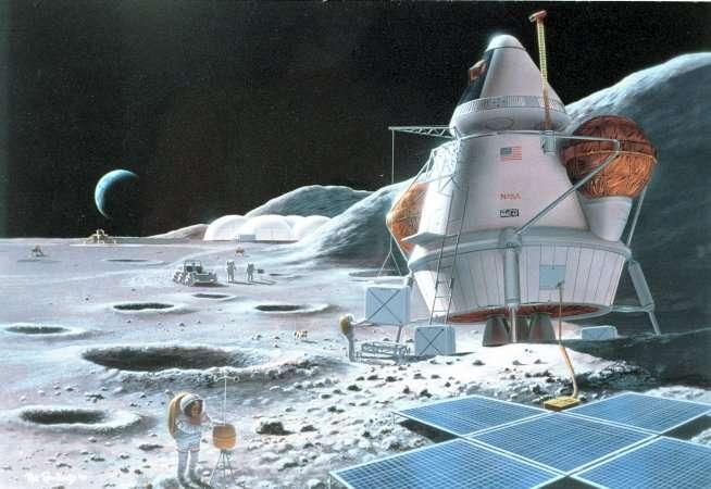Une future base sur la Lune ? Crédit : Nasa.