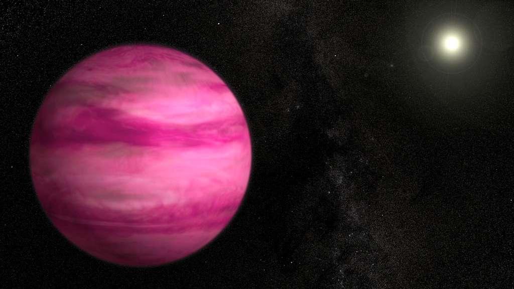 Vue d'artiste de l'exoplanète GJ 504b en orbite autour de l'étoile 59 Virginis, aussi appelée GJ 504. Âgée d'environ 100 millions d'années, elle est encore chaude et apparaît magenta dans le visible. Située à 44 unités astronomiques de son astre central, elle ne devrait pas exister selon le modèle cosmogonique standard expliquant la formation des géantes gazeuses. © Nasa's Goddard Space Flight Center, S. Wiessinger