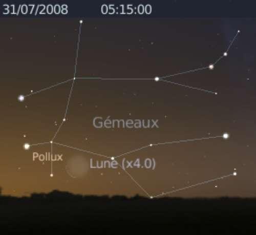 La Lune en rapprochement avec l'étoile Pollux