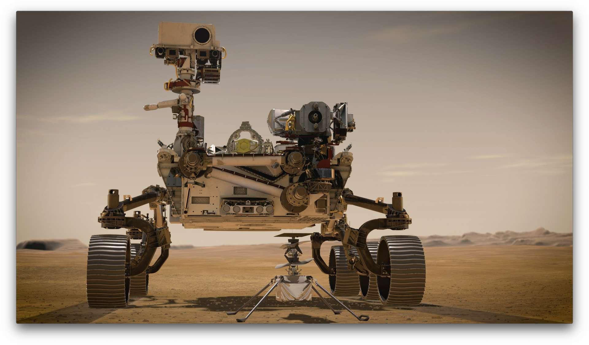 Illustration du rover Perseverance et de l'hélicoptère Ingenuity sur Mars. © Nasa