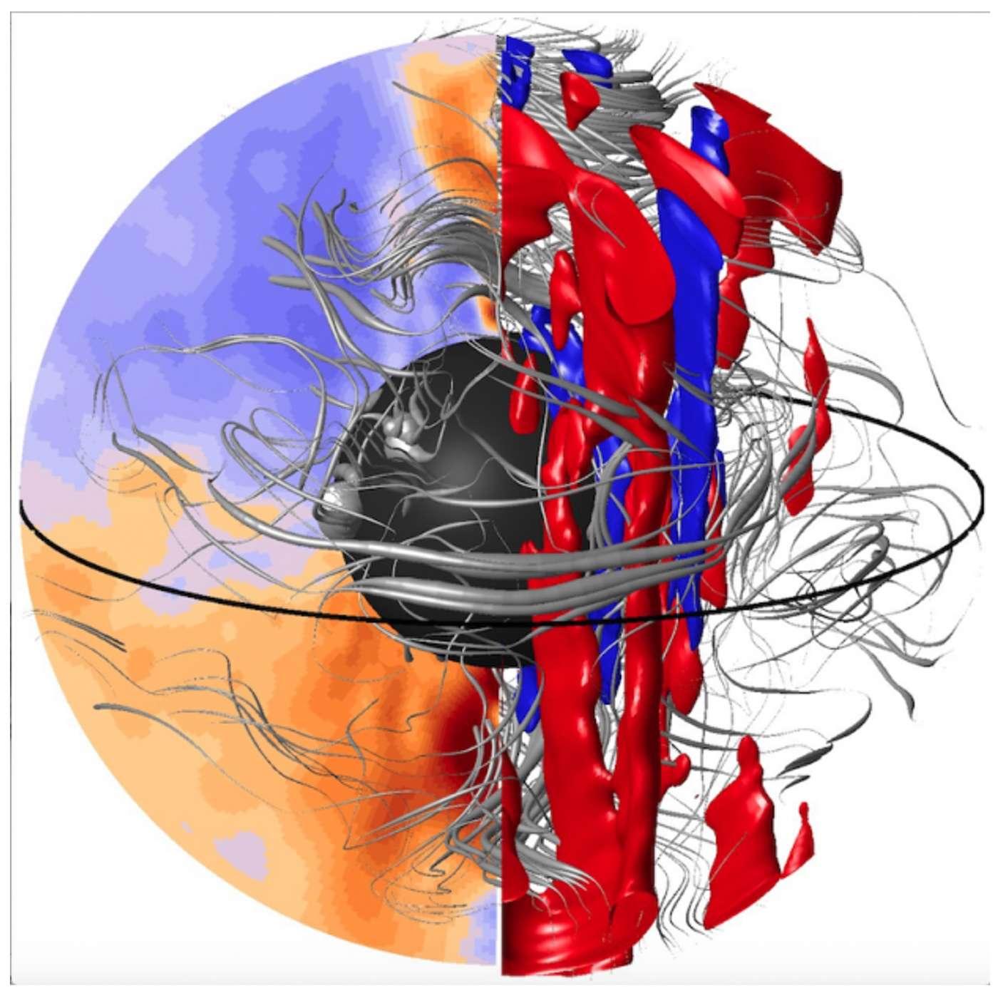 La structure dynamique interne du noyau, estimée à partir des observations de surface et du comportement d'un modèle informatique de la géodynamo. Les structures tourbillonnaires de l'écoulement sont représentées en rouge et en bleu. Le champ magnétique interne est représenté en orange et violet, ainsi que par des lignes de champ dans le volume qui sont tordues par l'écoulement. © Julien Aubert, IPGP/CNRS