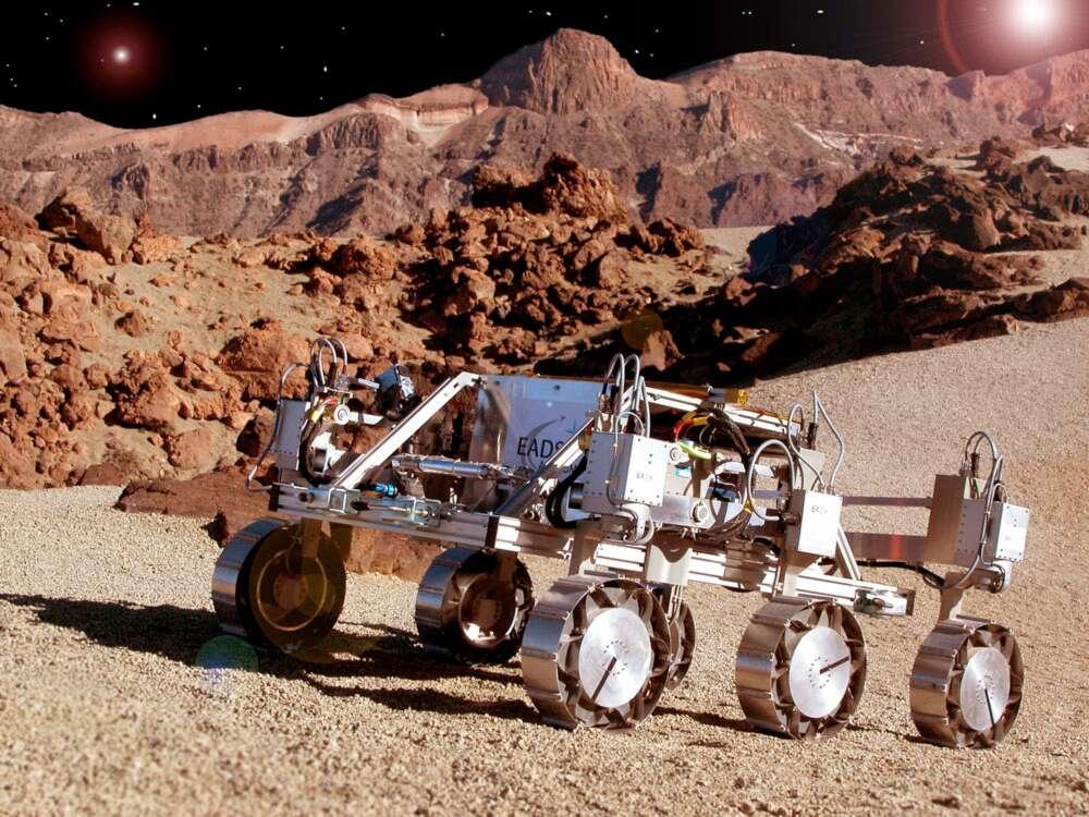 Astrium, qui participe au projet Faster, utilisera son rover Bridget, en test sur l'île de Ténérife, pour tester les solutions envisagées pour les futurs rovers d'exploration planétaire. © Astrium