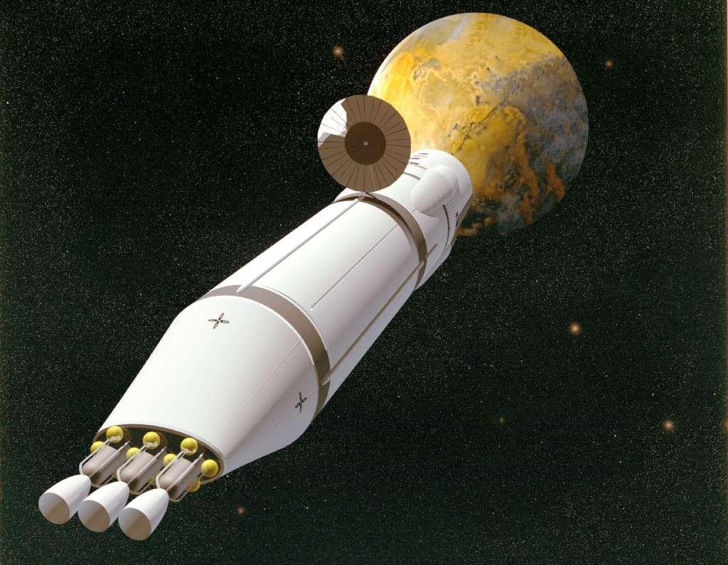 Un des nombreux concepts de véhicule spatial (ici l'un de ceux de la Nasa) pour atteindre Mars. Pour protéger l'équipage des radiations durant le voyage, il sera possible de privilégier certains matériaux, voire d'installer les réserves d'eau (une bonne protection) autour du vaisseau. © Nasa