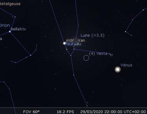 La Lune en rapprochement avec Aldébaran et Vesta