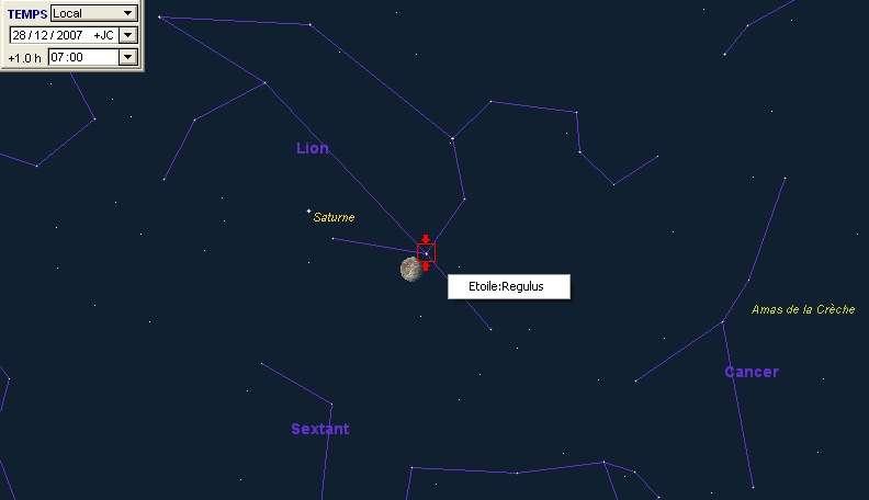 La Lune est en rapprochement avec la planète Saturne et l'étoile Régulus