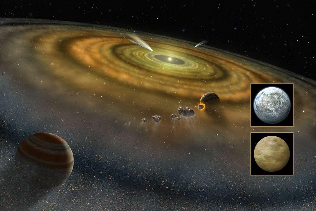 Vue d'artiste d'un disque protoplanétaire, dans lequel des planètes se forment par accrétion. On voit une géante gazeuse, et une planète rocheuse qui ressemblera peut-être à la Terre ou à Vénus. © Nasa, FUSE, Lynette Cook