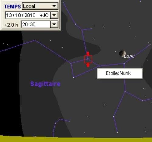 La Lune en rapprochement avec l'étoile Nunki