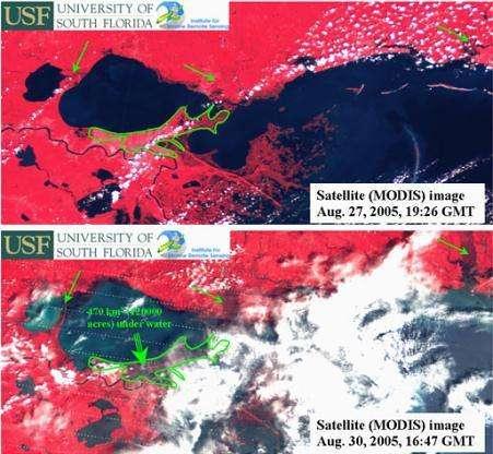 Observations de l'instrument MODIS avant (image du haut) et après (image du bas) le passage de Katrina sur la Nouvelle-Orélans En rouge figurent les terres, en bleu les étendues d'eau, en blanc les nuages Cette comparaison permet de mesurer l'