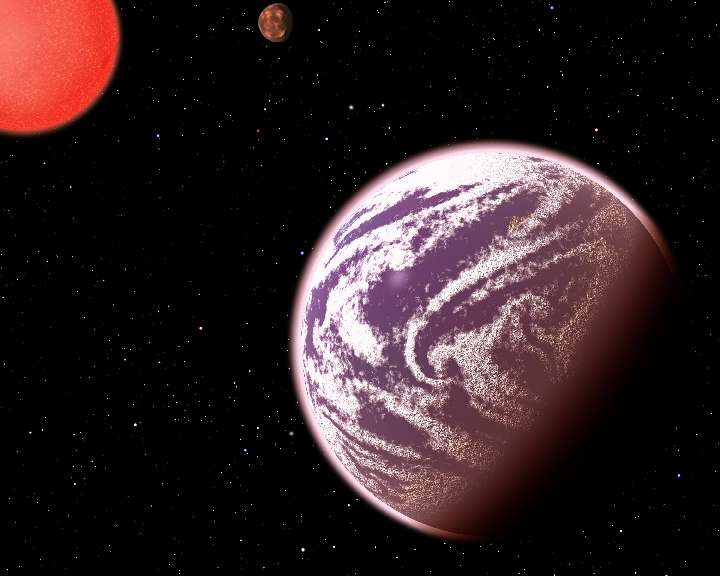 Vue d'artiste du système extrasolaire KOI-314, où gravitent deux planètes un peu plus grandes que la Terre autour de l'étoile naine rouge éponyme. L'une d'elles, KOI-314c, possède la même masse que notre planète. Sa densité plus élevée suggère toutefois qu'elle est vêtue d'une épaisse atmosphère. Une exoplanète considérée comme ambiguë et lui vaut d'être désignée comme « mini-Neptune ». © C. Pulliam, D. Aguilar, CfA