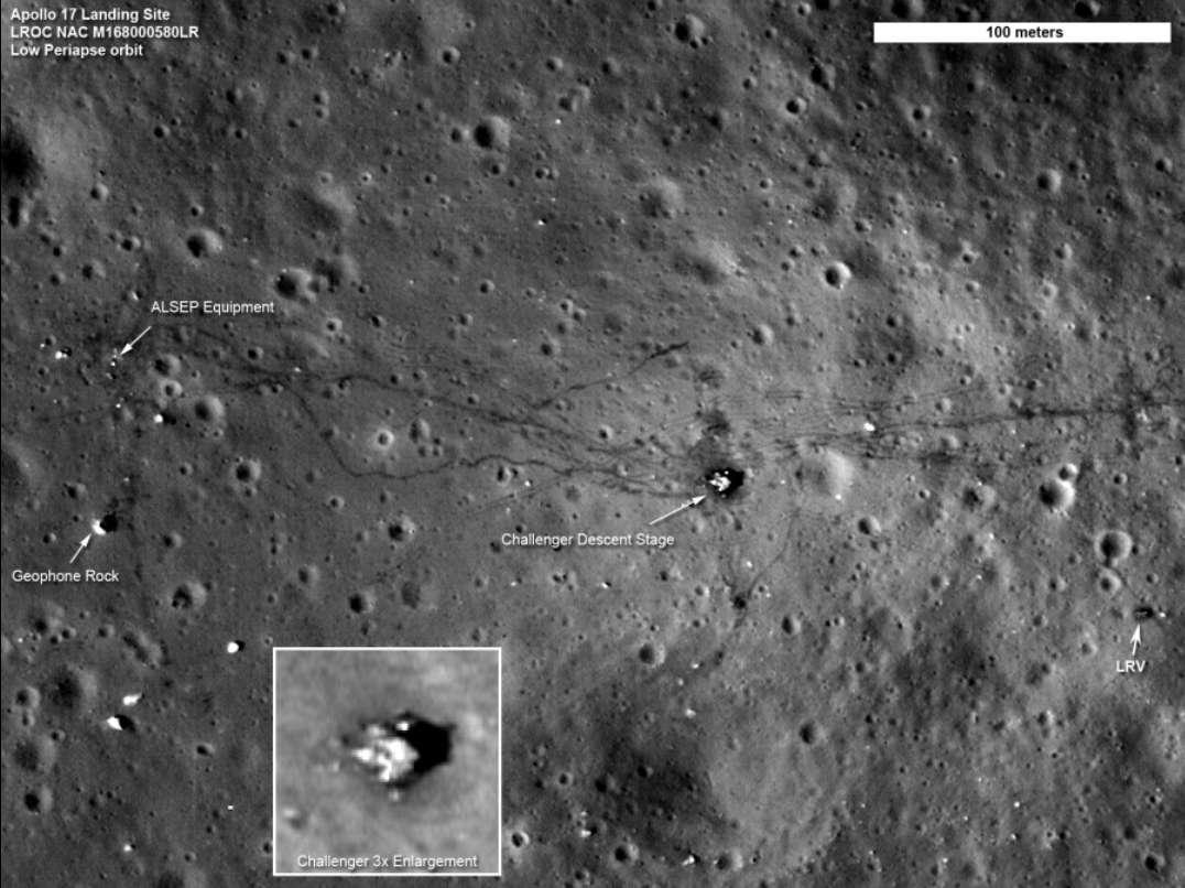 Le site lunaire de la mission Apollo 17, arpenté par Eugene Cernan et Harrison Schmitt du 11 au 14 décembre 1972. Le module de descente (Challenger) est identifiable et montré en médaillon. Il n'y a pas de vent sur la Lune et les traces de labour laissées par les va-et-vient de la jeep lunaire (LRV, à droite de l'image) resteront là très longtemps. © Nasa/GSFC/Arizona State Univ./LRO