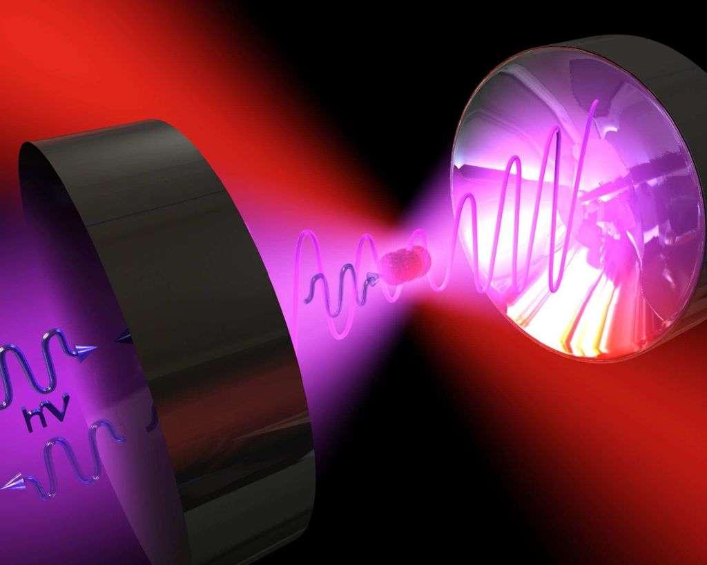 Une vue d'artiste de l'expérience proposée pour réaliser, avec des lasers, un virus de Schrödinger. Crédit : Romero-Isart