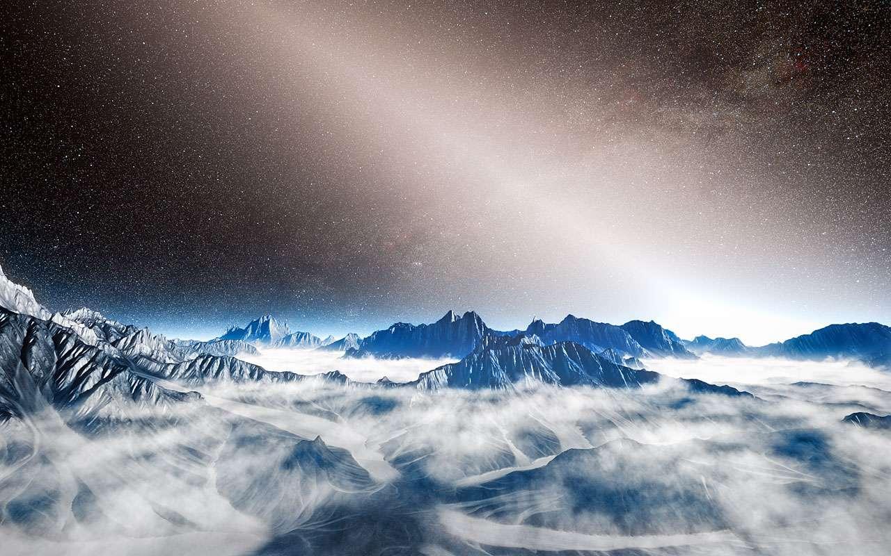 Cette illustration d'une planète imaginaire en orbite autour d'une étoile proche montre l'intense lueur de la lumière exozodiacale emplissant le ciel et masquant en partie la Voie lactée. La poussière chaude, résultant d'une part de collisions entre astéroïdes et d'autre part de l'évaporation de comètes, réfléchit la lumière de leur étoile-parent. Leur existence peut, à l'avenir, constituer un obstacle à l'imagerie directe de planètes de type Terre. © Eso, L. Calçada