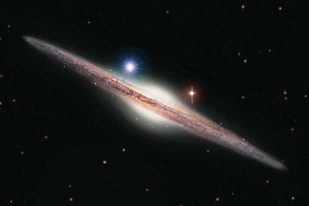Représentation artistique de la source X, nommée HLX-1 (point lumineux bleu en haut à gauche du bulbe galactique). Elle est située dans la périphérie de la galaxie spirale ESO 243-49. HLX-1 est le candidat le plus solide détecté à ce jour, appartenant à la classe si longtemps recherchée des trous noirs de masse intermédiaire. © Insu/Heidi Sagerud