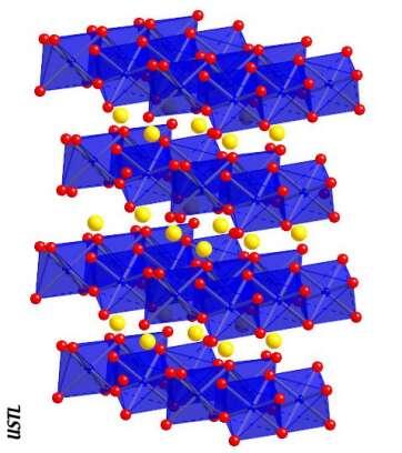 """Structure de la post-perovskite MgSiO3. Potentielle phase de la couche D"""". Crédit : USTL"""