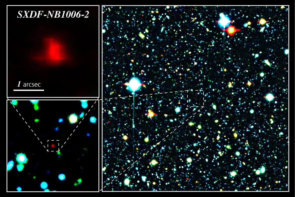 Un zoom dans le champ étudié par Subaru et le télescope XMM Newton montrant la galaxie SXDF-NB1006-2. © NAOJ