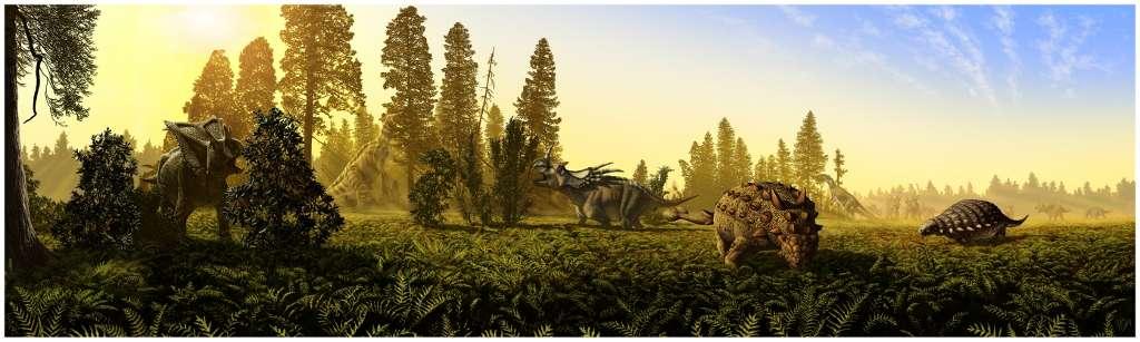 Au Crétacé supérieur, les dinosaures herbivores massifs qui vivaient au niveau de la formation géologique de Dinosaur Park avaient des niches alimentaires différentes. Voilà le secret de leur cohabitation. De gauche à droite, les espèces représentées par Julius Csotonyi sont Chasmosaurus belli, Lambeosaurus lambei, Styracosaurus albertensis, Euoplocephalus tutus, Prosaurolophus maximus, Panoplosaurus mirus. Le troupeau en arrière-plan se compose de S. albertensis. © Jordan Mallon, Jason Anderson, Plos One, 2013