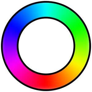 Le magenta (en bas à gauche) est une couleur non spectrale issue de la réunion des longueurs d'onde du rouge et du bleu. © DR