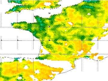 L'humidité des sols en avril 2011 est au plus bas dans une grande partie de l'Hexagone (zones jaunes et orange). © Esa/Cesbio