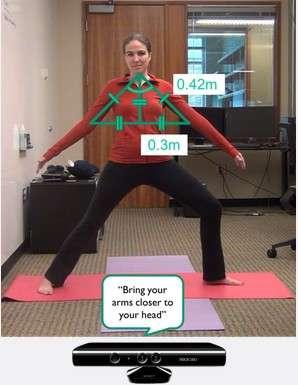 L'application Eyes-Free Yoga utilise le capteur Kinect pour déterminer la position du buste et des membres en calculant les angles. Les données sont ensuite comparées à la position yoga de référence, puis l'application corrige la posture de la personne par des instructions verbales. © Université de Washington