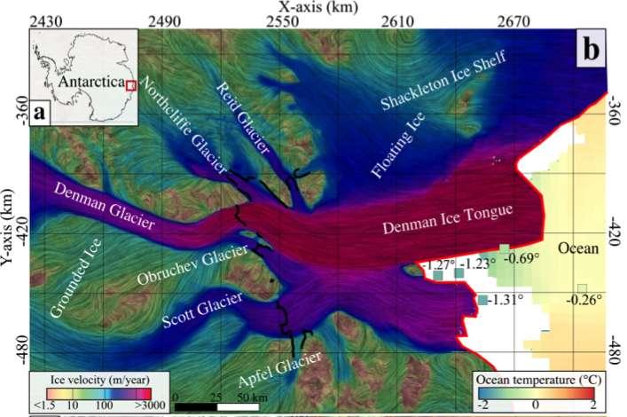 Le canyon Denman, à l'est de l'Antarctique, recule en moyenne de 250 mètres par an. © V. Brancato et al, Geophysical Research Letters, 2020