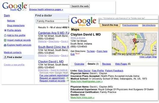 Une recherche de médecin avec le nouveau service de Google. Crédit Google